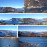 Vykort av sjön Iseo ställde in i de Brescia bergen - Italien 01 Royaltyfria Foton