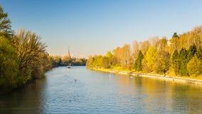 Vykort av Turin (Torino) med Po River Arkivbild