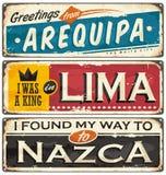 Vykort- eller souvenirmallar med städer i Peru vektor illustrationer