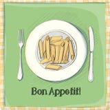 Vykort en platta med pasta Royaltyfri Bild