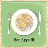Vykort en platta med pasta Royaltyfria Bilder