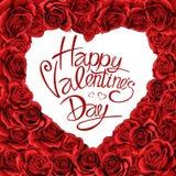 Vykort för bokstäver för tappning för hjärta för röda rosor för valentindag royaltyfri illustrationer
