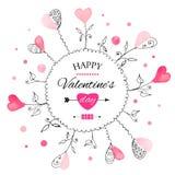 Vykort för dag för valentin s stock illustrationer