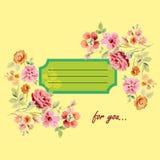 Vykort för dig med blommor stock illustrationer