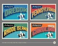 Vykort för Förenta staternatappningtypografi vektor illustrationer
