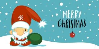 Vykort för glad jul och för lyckligt nytt år med gulliga Santa Claus i tecknad filmstil på blå bakgrund med att falla vektor illustrationer