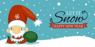 Vykort för glad jul och för lyckligt nytt år med gulliga Santa Claus i tecknad filmstil på blå bakgrund med att falla royaltyfri illustrationer