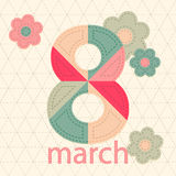 Vykort för internationell kvinnas för ferie dag i patchworkstil royaltyfri illustrationer
