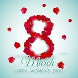 Vykort för internationell kvinnas för ferie dag med rosor stock illustrationer
