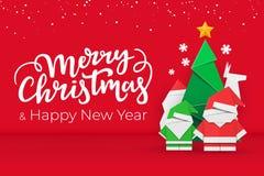 Vykort för jul och för nytt år med Xmas-beståndsdelar för handgjort papper på röd festlig bakgrund med snö royaltyfri illustrationer