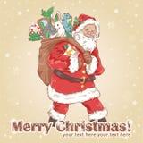 Vykort för julSanta Claus tappning Arkivbild
