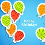 Vykort för lycklig födelsedag med ballonger. Vektor stock illustrationer