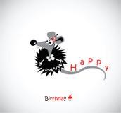 Vykort för lycklig födelsedag med din mus stock illustrationer