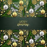 Vykort för lyckligt nytt år för glad jul dekorativ, struntsaker och stock illustrationer