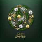 Vykort för lyckligt nytt år för glad jul dekorativ, struntsaker och royaltyfri illustrationer