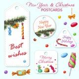 Vykort för nytt år och jul Arkivfoton