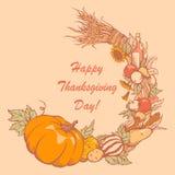 Vykort för tacksägelsedag Hand-dragit Arkivfoto