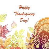 Vykort för tacksägelsedag Hand-dragit Arkivfoton