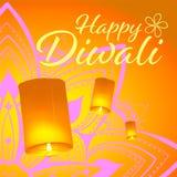 Vykort f?r den Diwali festivalen med den realistiska himmellyktor och mandalaen Lyckligt Diwali begrepp, gradbeteckning Typografi vektor illustrationer