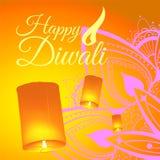 Vykort f?r den Diwali festivalen med den realistiska himmellyktor och mandalaen Lyckligt Diwali begrepp, gradbeteckning Typografi royaltyfri illustrationer
