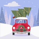 Vykort i plan tecknad filmstil med den gulliga röda bilen som dekoreras med julkransen som bär julgranhemmet Medeldrev royaltyfri illustrationer