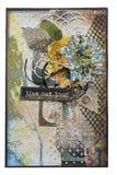 Vykort i stil som scrapbooking med blommor och en inskrift l Arkivbilder