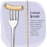 Vykort logo av pasta på en gaffel Royaltyfria Bilder