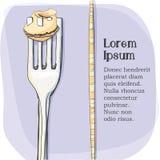 Vykort logo av pasta på en gaffel Arkivbild