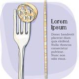 Vykort logo av pasta på en gaffel Royaltyfri Bild