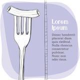 Vykort logo av pasta på en gaffel Arkivfoton