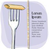 Vykort logo av pasta på en gaffel Arkivbilder
