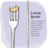 Vykort logo av pasta på en gaffel Royaltyfria Foton