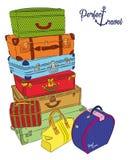 Vykort med bagage för perfekt lopp royaltyfri illustrationer