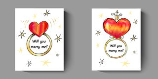 Vykort med cirklar, med en fråga - ska du att gifta sig mig stock illustrationer