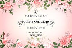 Vykort med delikata blommarosor Bröllopinbjudan, tacka dig, sparar datumkorten, menyn, reklambladet, banermall Royaltyfri Fotografi