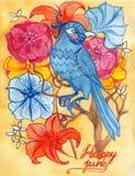 Vykort med den blåa fågeln Royaltyfri Foto