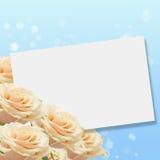 Vykort med eleganta rosor Royaltyfri Fotografi