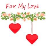 Vykort med en girland av delikata rosor och två hjärtor för min förälskelse royaltyfri illustrationer