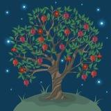 Vykort med ett ganatträd mot natthimlen ocks? vektor f?r coreldrawillustration stock illustrationer