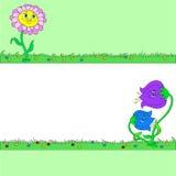 Vykort med gladlynta blommor Utrymme för text Royaltyfri Bild