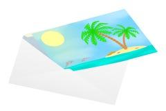 Vykort med havssikter i ett kuvert Royaltyfri Fotografi