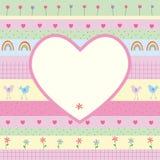 Vykort med hjärta royaltyfri illustrationer