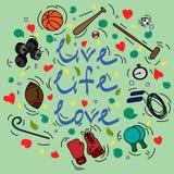 Vykort med text Live Life Love och attribut för sport Royaltyfri Bild
