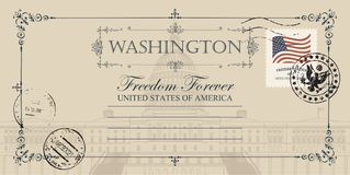 Vykort med USA-Kapitoliumbyggnad i Washington DC stock illustrationer