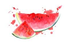Vykort med vattenmelon och fläcken Arkivbilder