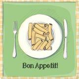 Vykort pasta på en platta Royaltyfria Foton