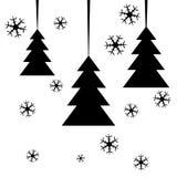 vykort Svart abstrakt granträd med snöflingor på vit bakgrund också vektor för coreldrawillustration Royaltyfri Bild