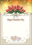 Vykort till valentin dag med en bukett av röda rosor och hjärtor Royaltyfria Foton
