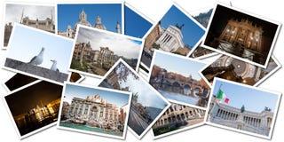 Vykortcollage från Rome, Italien Arkivbilder