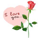 Vykortdesign med den röda rosen och hjärta Royaltyfri Fotografi